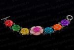 Браслет с перламутром в металле 7 цветков цв.ассорти, 20см