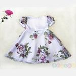 Платье нарядное «Камелия» белое с розами