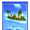 Полотенце вафельное банное-80х150-Дельфины
