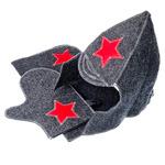 """Набор банный """"Буденовец"""" 3 пр. (шапка, варежка, коврик), серый"""