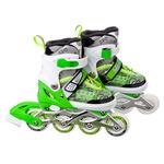 Коньки роликовые раздвижные база алюминий, колеса полиуретан (со светом) S:31-34, зеленый