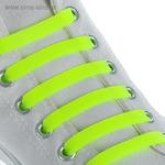 """Шнурки для обуви """"Силиконовые"""", плоские, 6шт, цвет жёлтый неон"""