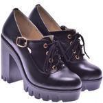 Женские кожаные туфли на тракторной подошве