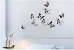 Стикеры для декора чёрно-белые бабочки