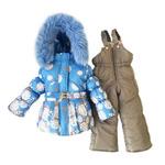 Зимний комбинезон для девочки «Голубой принт»