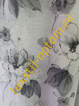 Тюль под лён с печатью ''Серые хризантемы''