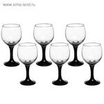 Набор 6 предметов (бокал для вина 200мл) с крашенной ногой черная (УЦЕНКА)