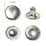 Кнопка сталь Strong №54 (S-образная) 12,5мм цв. никель, цена за 100 шт.