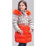 Зимнее пальто для девочки BILEMI (серебро/оранжевый), 5-14 лет