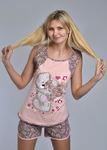 """Пижама с шортами """"ТЕДДИ"""" набивная (коричневый) Артикул: ПШ200-1к-11"""