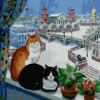 Картина-раскраска по номерам 40*50 GX 4781 Кошки на окошке