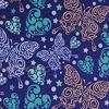 Поли Понж, Дюспо, 100% полиэфир, 80 г/м2, ВО, ПУ,Милки, шир. 150 см (Веселые бабочки/синий)