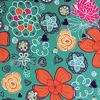 Поли Понж, Дюспо, 100% полиэфир, 80 г/м2, ВО, ПУ,Милки, шир. 150 см (Детские цветы/ментол-оранжевый)