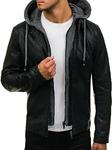 Куртка мужская кожаная черная Denley 1037