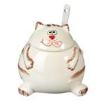 Сахарница с ложкой, 200мл, керамика, MILLIMI Веселый кот