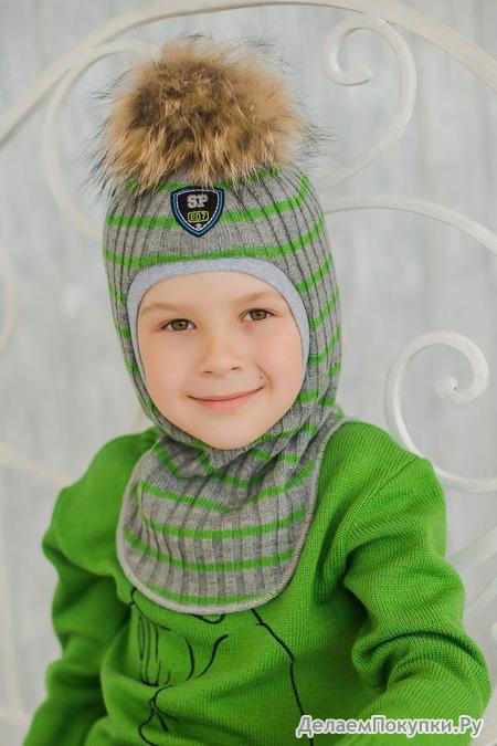 Шлем трикотажный, помпон енот, ЗИМА