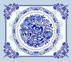 Ткань Вафельное полотно Сувенир(Гжель)