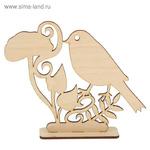 """Фигурка для декора из фанеры на подставке """"Птица у цветка"""" 15х12,6 см (набор 2 детали)"""