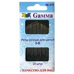 """Иглы для шитья ручные """"GAMMA"""" для шитья 3-9 N-310 блистер 20 шт."""