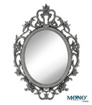 """MONOINSIDE Small Decorative Framed Oval Wall Mounted Mirror, Classic Vintage Baroque Design, 15"""" x 10.5"""", Plastic, Ornate Gray Finish"""