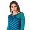 Бирюзовый полосатый свитерок со смещением к одному плечу
