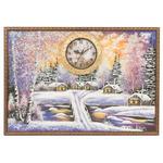 """Часы с картиной """"Домики в зимнем лесу"""" 45х65 см"""