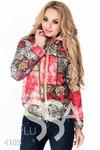 Красная короткая курточка с принтом-фрагментами с цветами