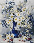 RDG-0354 (VA-1626) Ромашки в синей вазе