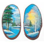 """Панно на срезе дерева """"Зима"""" вертикальное 25-30 см"""