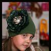 Шапочка цвета хакки с пионом Акварель р-р 42-58