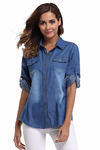 MISS MOLY Women's Long Rolled Sleeves Washed Denim Shirt with Western Pockets