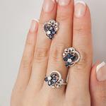 Серебряное кольцо с цветными фианитами 19007
