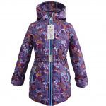 Куртка демисезонная, модель П001, цвет сирень_цветы