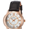 Lucien Piccard LP-40001-RG-02S Dalida Black Genuine Leather White Mother of Pearl Dial Rose-Tone Case