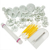 HOSL Cake Tools 14 sets (46pcs) Flower Fondant Cake Sugarcraft Decorating Kit Cookie Mould Icing Plunger Cutter Tool, White