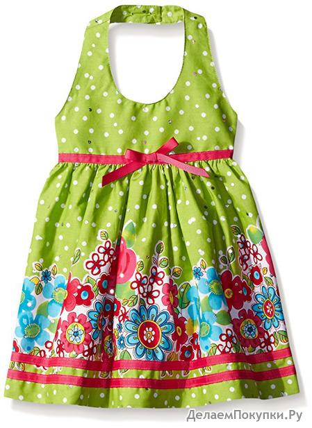 Blueberi Boulevard Baby Girls' Floral Border Halter Sundress