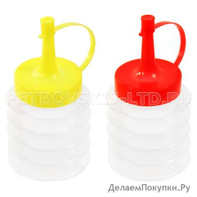 """66268 - Бутылка для масла и соуса пластмассовая """"Гармошка"""" 100мл, h11см, цветная пластмассовая крышка (Китай)"""