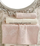 """Комплект махровых полотенец жаккард """"DORA"""" 3шт крем-розовый"""