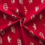 Ткань на отрез бязь плательная №1694/20 Белые короны на красном (за 1 м)