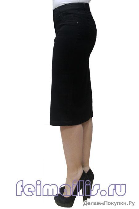 Юбка джинсовая прямая черная (44-56) размер