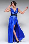 Атласное вечернее платье с шикарным поясом  RM123-14VP
