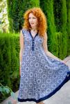 Платье 17228-1V синий с белым