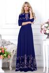 Платье синее пудра горошек длинное. С 42 размера!