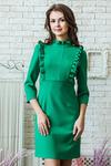 Платье зеленое с рюшами