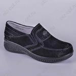 Туфли - р.36-41, замша нат, кожа нат, 8п, черный, Sheton