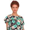 297 Блуза Цветы бирюза