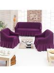 Набор чехлов на диван и 2 кресла баклажан