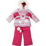 Зимний комплект для девочки Kiko с орнаментом (белый/вишня), 1- 8 лет