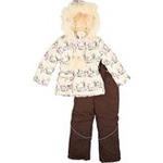 Зимний комплект Donilo для девочки (бежевый/шоколад), 5-8 лет