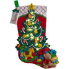 Bucilla 18-Inch Christmas Stocking Felt Applique Kit, 86710 Christmas Tree Surprise